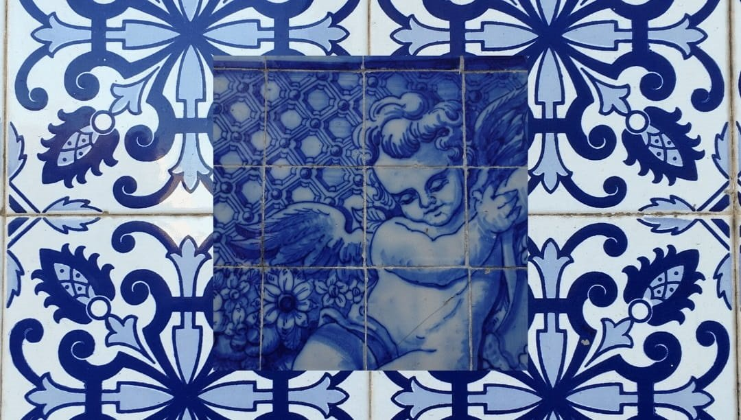 Angel Azulejos, painted tiles, of Portugal
