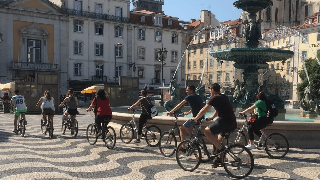 Bicyclists in Lisbon Portugal