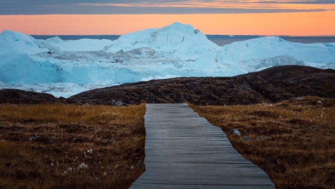 hiking boardwalk leading to glacier in Greenland