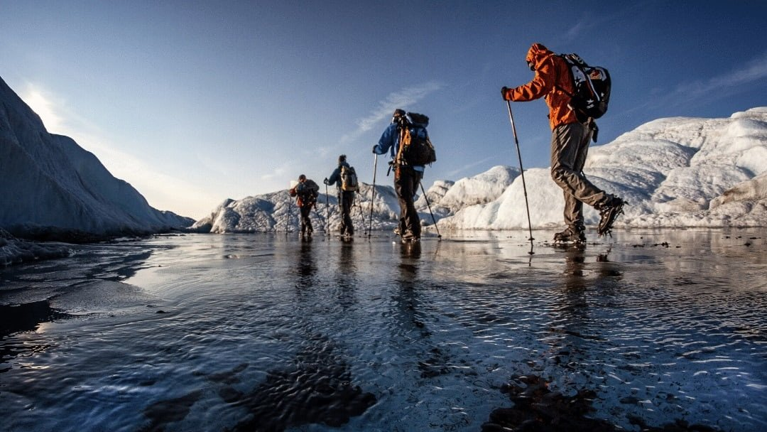 hikers on ice