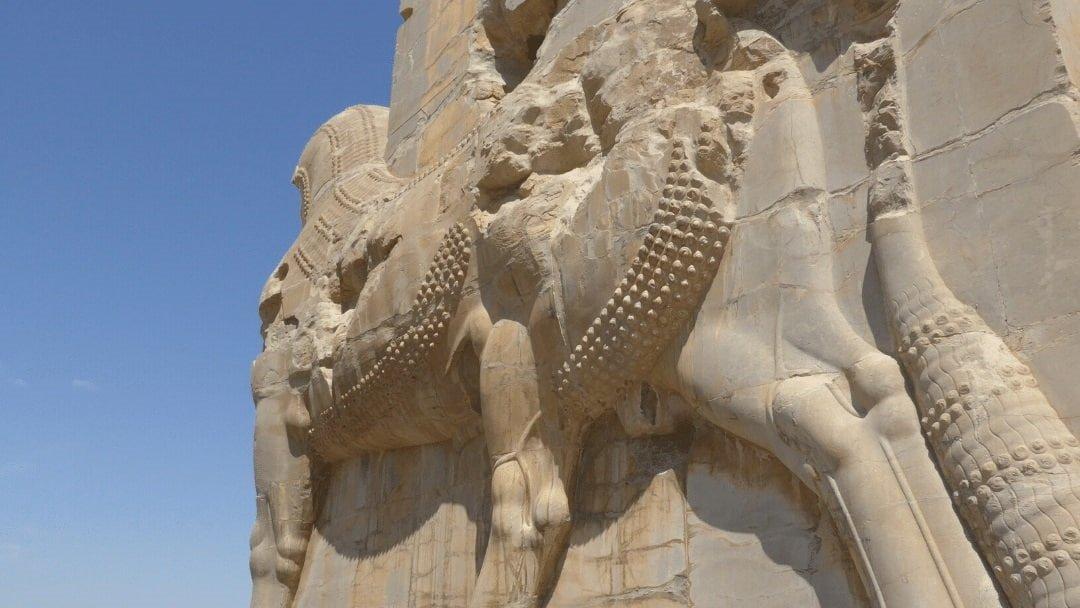 Massive stone horse at Persepolis, Iran