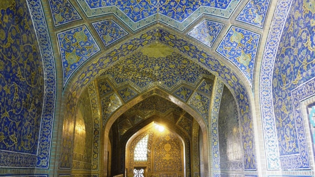 Ornate ceiling in UNESCO Isfahan, Iran