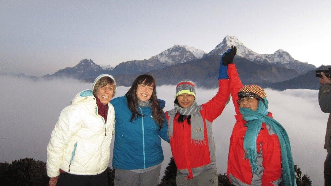 four women hikers in Nepal Annapurna