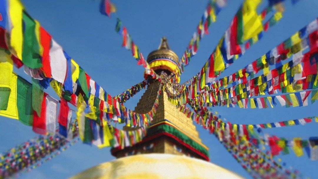 Prayer flags and Monkey Temple in Kathmandu, Nepal