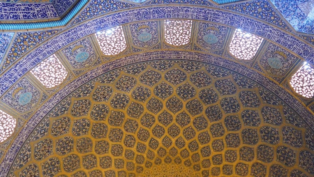 Ornate ceiling in Isfahan, Iran