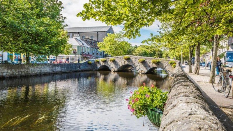 Canal and stone bridge in Westport, Ireland