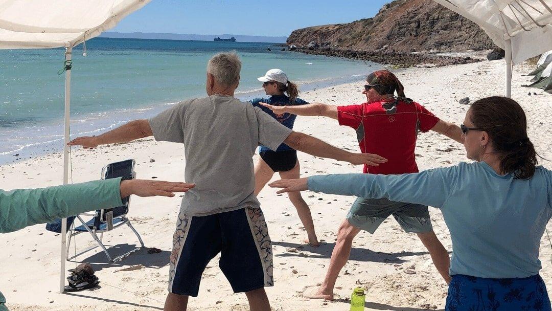 yoga on a beach in Baja Mexico
