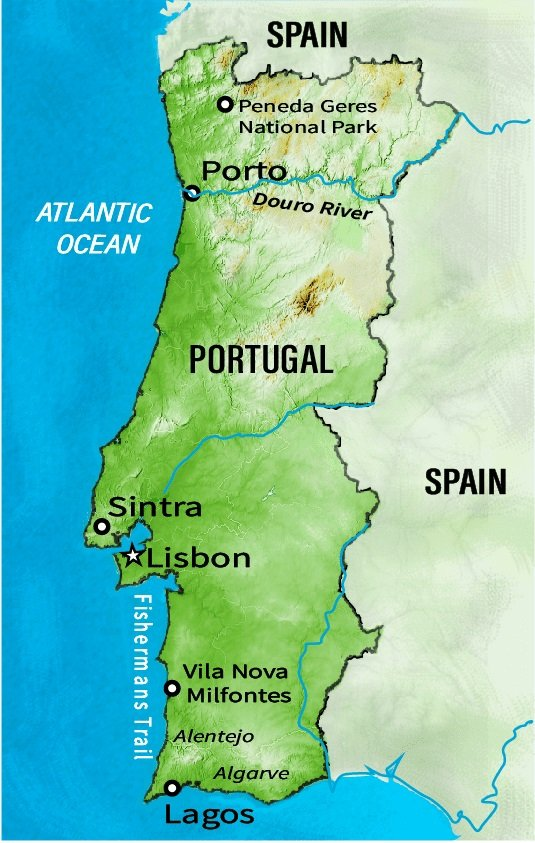 Map of Portugal for Meaningful Trips tour