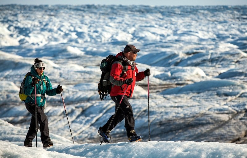 two hikers on Greenland Ice Sheet