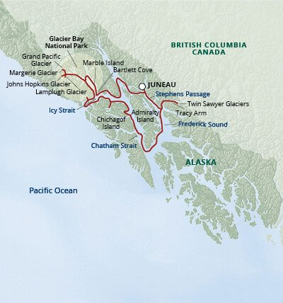 Map of Alaska Inside Passage