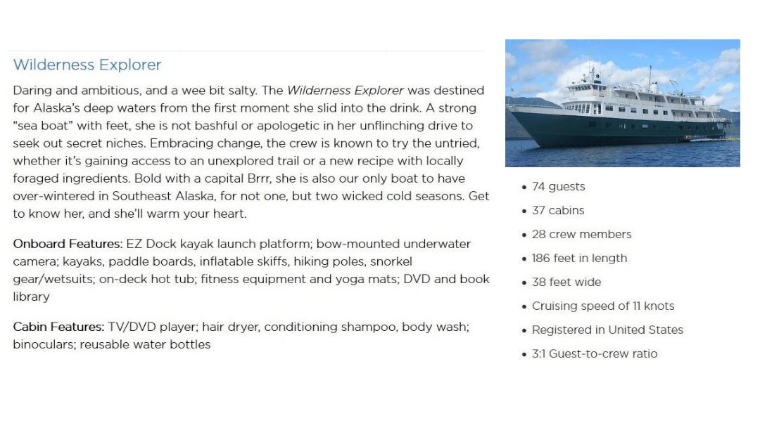 Uncruise Wilderness Explorer details