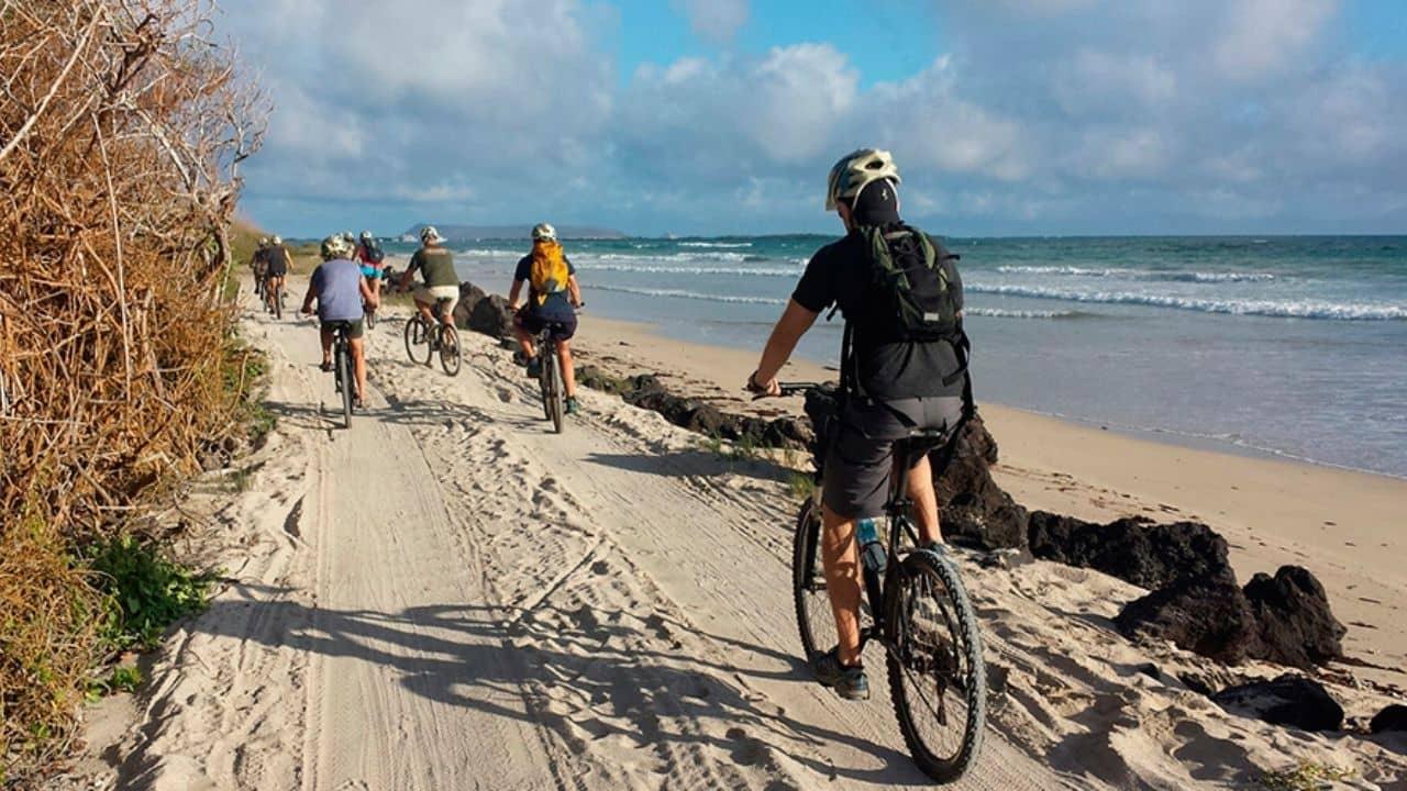 9 bicyclists on a sandy path along the sea coast