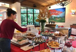 Woman at hotel buffet