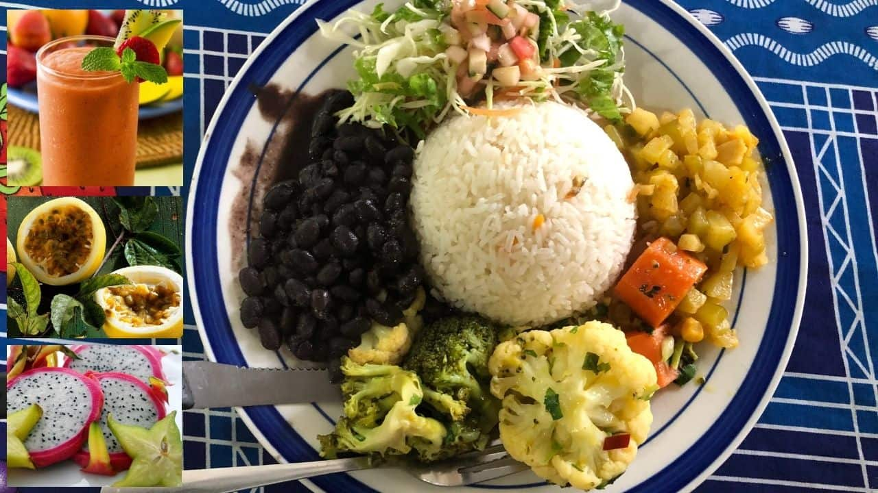 plate of beans, rice, vegetables on blue and white plate