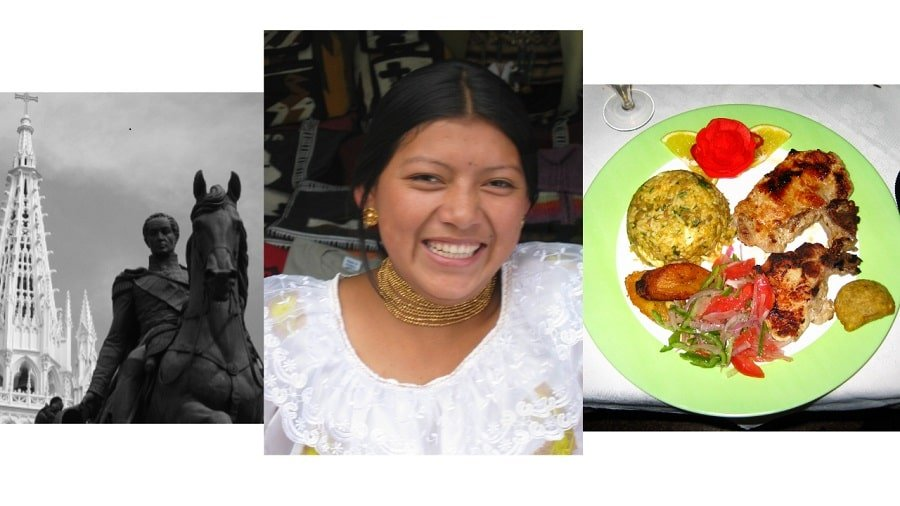 statue, smiling indigenous woman and food plate
