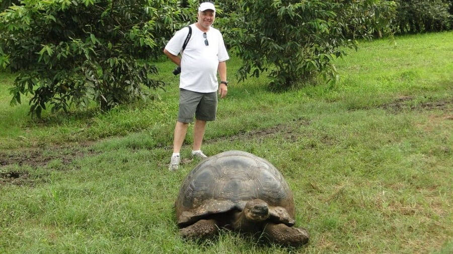 man in shorts and white shirt standing behind giant galapagos tortoise