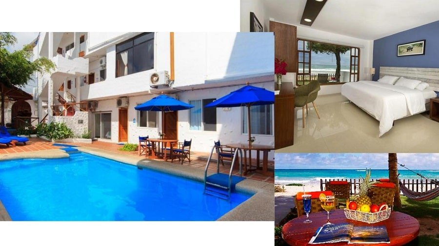 composite of hotel images showing bedroom, swimming pool and outside table with fruitbasket