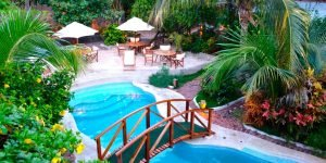 hotel pool with bridge