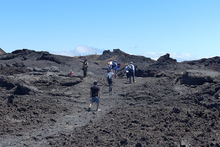 Hikers on Sierra Negra Volcano Isabela Galapagos