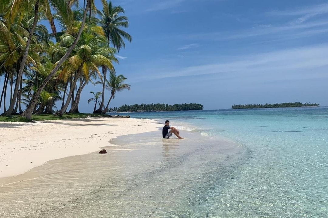 one person sitting on beach with sand, palms and clear water