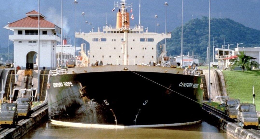 ship inside Panama Canal