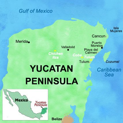 yucatan mexico map