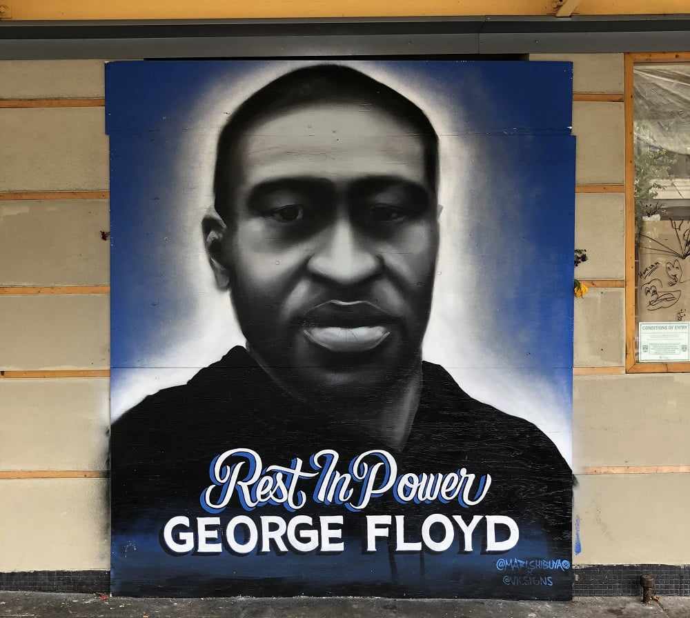 wall mural of George Floyd