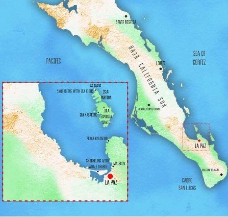 map of baja mexico and la paz
